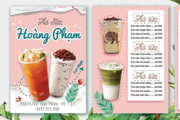 in menu quán trà sữa